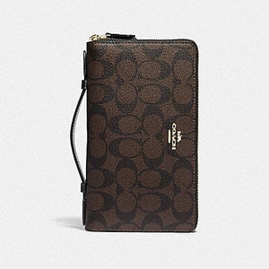 Coach Double Zip Travel Wallet in Signature Canvas F23552 (Brown/Black/Gold)