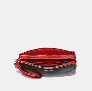 Coach Double Zip Wallet in Signature Canvas F16109 (Brown/True Red/Light Gold)