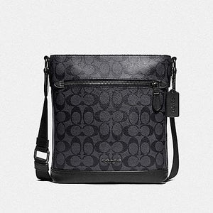 Coach Graham Flat Crossbody in Signature Canvas F79053 (Charcoal/Black/Black Antique Nickel)