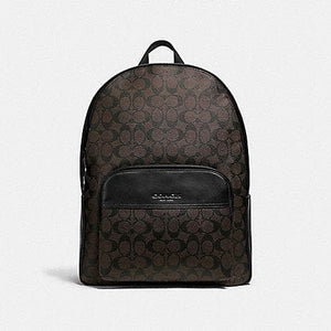 Coach Houston Backpack in Signature Canvas F72483 (Mahogany/Black/Black Antique Nickel)