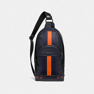 Coach Houston Pack with Baseball Stitch F76867 (Midnight Navy/Cadet/Dark Orange/Black Antique Nickel)