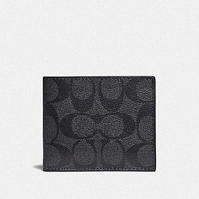 Coach ID Billfold Wallet in Colourblock Signature Canvas F78201 (Charcoal/Blue Multi/Black Antique Nickel)