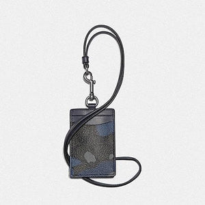 Coach ID Lanyard in Signature Canvas with Camo Print F77931 (Blue Multi/Black Antique Nickel)