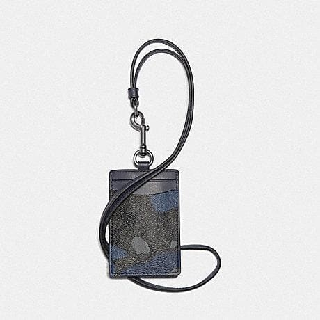 Coach Lanyard ID in Signature Canvas with Camo Print F77931 (Blue Multi/Black Antique Nickel)