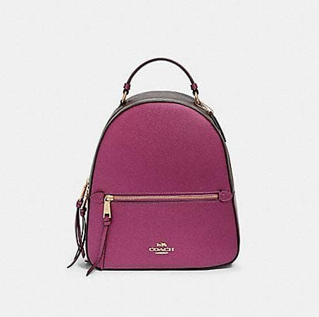 Coach Jordyn Backpack in Signature Canvas F85029 (Imitation Gold/Brown Metallic Berry)