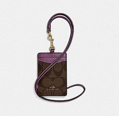 Coach Lanyard ID in Signature Canvas F63274 (Imitation Gold/Brown Metallic Berry)