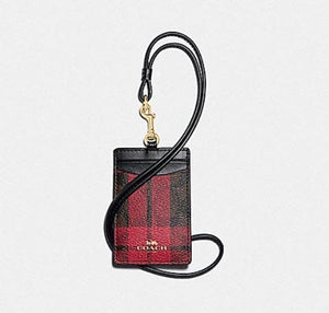 Coach Lanyard ID in Signature Canvas with Field Plaid Print F88495 (Imitation Gold/Brown/True Red Multi)