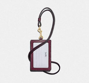 Coach Lanyard ID in Signature Canvas with Shirting Plaid Print F88496 (Imitation Gold/Brown Fuchsia Multi)