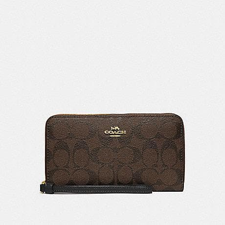 Coach Large Phone Wallet in Signature Canvas F73418 (Brown/Black/Imitation Gold)