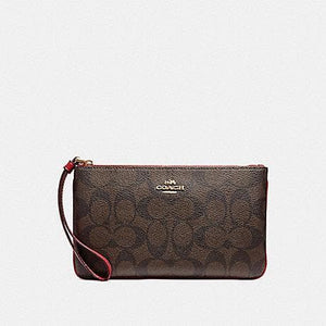 Coach Large Wristlet in Signature Canvas F58695 (Brown/True Red/Imitation Gold)