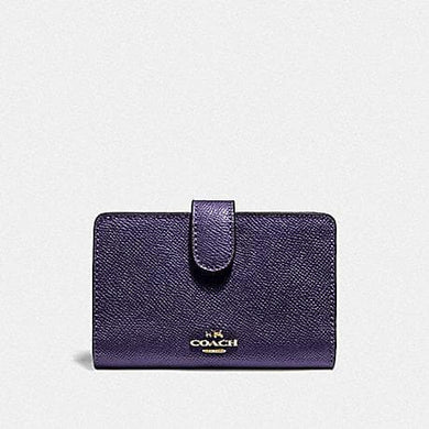 Coach Medium Corner Zip Wallet F11484 (Dark Purple/Imitation Gold)