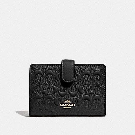 Coach Medium Corner Zip Wallet in Signature Leather F67565 (Black/Gold)