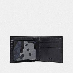 Coach Men 3 in 1 Wallet in Signature Canvas with Camo Print F76948 (Blue Multi/Black Antique Nickel)