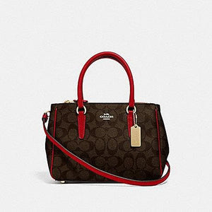 Coach Mini Surrey Carry All in Signature Canvas F67027 (Brown/True Red/Imitation Gold)