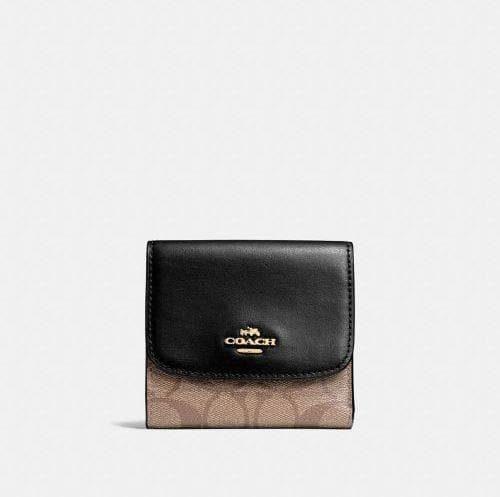 Coach Small Wallet in Signature Canvas F87589 (Khaki/Black/Imitation Gold)