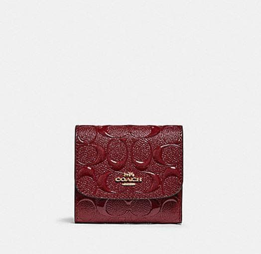 Coach Small Wallet in Signature Leather F88907 (Imitation Gold/Cherry)