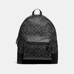 Coach West Backpack in Signture Canvas F36137 (Charcoal/Black/Matte Black)