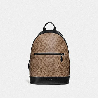 Coach West Slim Backpack in Signature Canvas F78756 (Tan/Black Antique Nickel)