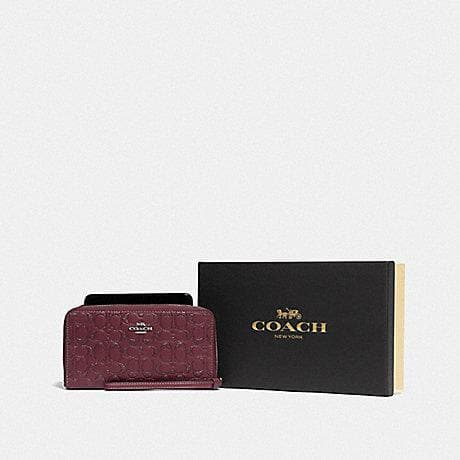 Coach Boxed Large Phone Wallet In Signature Leather F80222 (Wine/Silver)