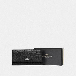 Coach Boxed Trifold Wallet In Signature Leather F83504 (Black/Silver)