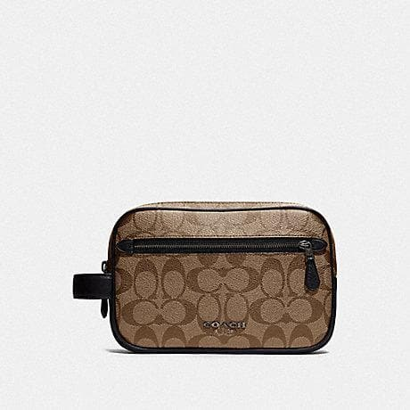 Coach Double Zip Overnight Kit In Signature Canvas F78674 (Tan/Black Antique Nickel)