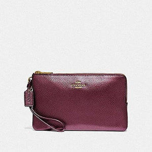 Coach Double Zip Wallet  F87587 (Metallic Wine/Im)