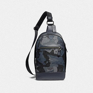 Coach Graham Pack in Signature Canvas with Camo Print F76843 (Blue Multi/Black Antique Nickel)