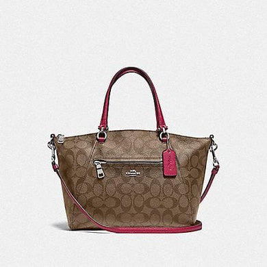 Coach Prairie Satchel In Signature Canvas F79998 (Khaki Dark Fuschia/Silver)