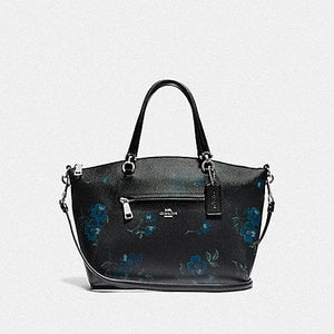 Coach Prairie Satchel With Victorian Floral Print F80004 (Blue Black Multi/Silver)