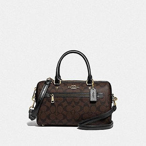 Coach Rowan Satchel In Signature Canvas F83607 In Brown Black