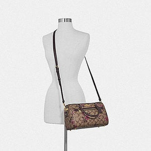 Coach Rowan Satchel In Signature Canvas With Victorian Floral Print F89152 (Khaki Berry Multi/IM)