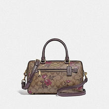Load image into Gallery viewer, Coach Rowan Satchel In Signature Canvas With Victorian Floral Print F89152 (Khaki Berry Multi/IM)