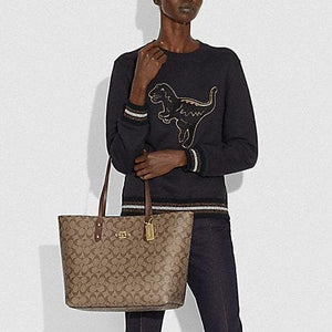 Coach Town Tote In Signature Canvas F76636 (Brown/Black/Imitation Gold)