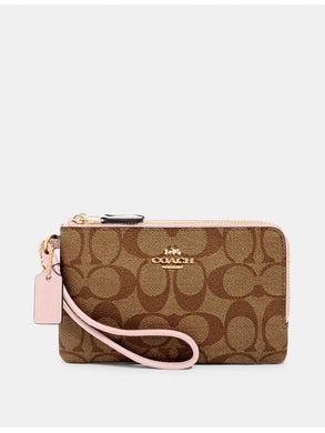 Coach Signature Double Zip Wristlet 87591 In Khaki Blossom