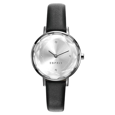 Esprit Women's Silver Dial ES109312001 Black Leather Strap Watch