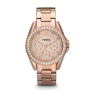 (PRE-ORDER) Fossil Riley Multifunction Rose Gold-plated Ladies Watch ES2811
