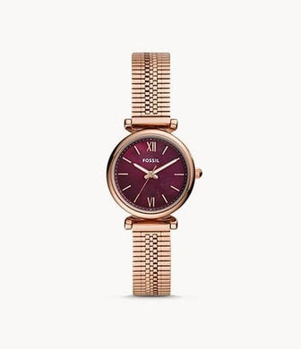 Fossil Women Carlie Mini Three-Hand ES4646 Rose Gold-Tone Stainless Steel Watch