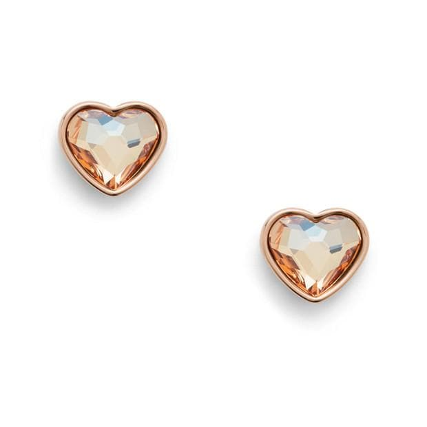 FOSSIL EARRINGS MULTI-FACETED HEART ROSE GOLD-TONE STAINLESS STEEL