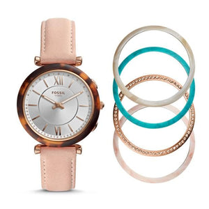 Fossil Hybrid Smartwatch Carlie Blush Leather FTW5042SET Interchangeable Bezel Box Set