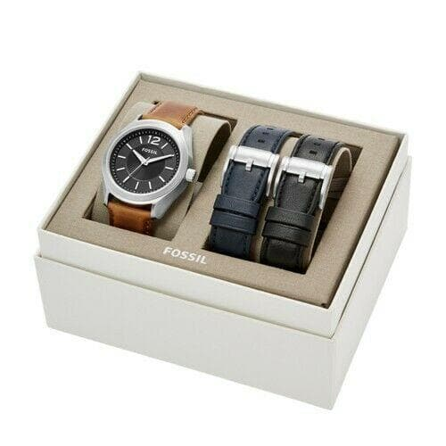 Fossil Watch  Editor Three-Hand Interchangeable Strap Box Set BQ2337