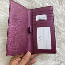 Load image into Gallery viewer, Coach Signature Canvas Bifold Wallet F88026 IMPK4 In Brown Metallic Berry