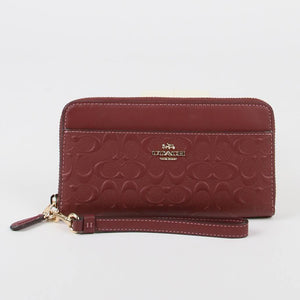 Coach Signature Accordion Zip C2035 Wallet In Wine