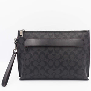 Coach Carryall Pouch In Signature Canvas F39763 (Black/Black/Oxblood)