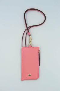 Kate Spade Jae Card Case Lanyard WLRU5927 In Bright Pink