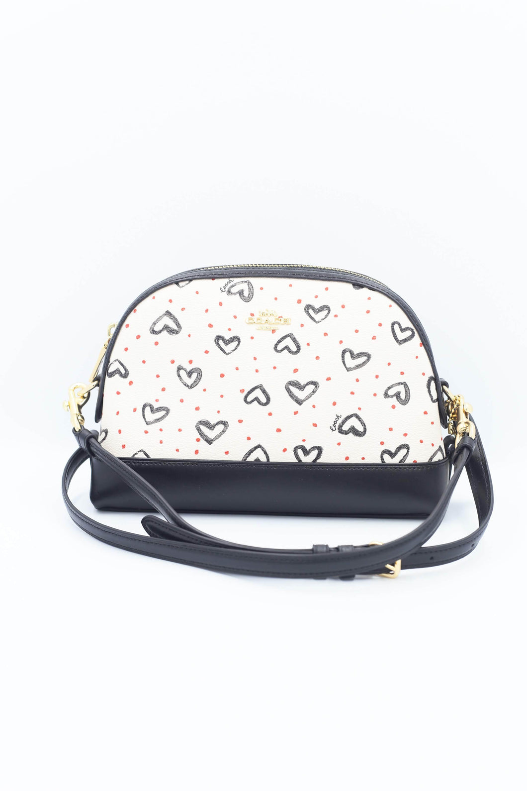 Coach Dome Crossbody Bag With Crayon Hearts Print 91152 In White Multi
