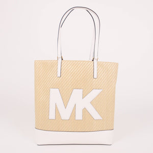 Michael Kors Large Kelli 35T0GWQT7W Straw Python Capsule NS Tote Bag In Optic white