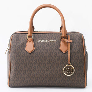 Michael Kors Bedford Large Duffle Satchel Bag 35F9GBFU3B In Brown Acorn
