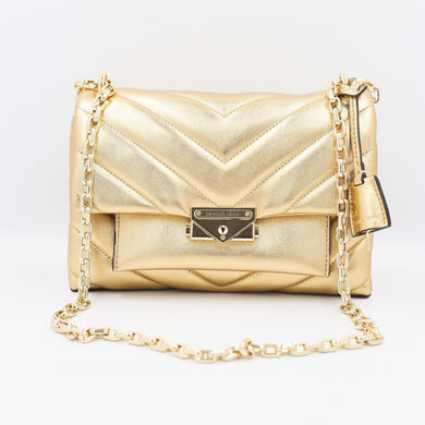 Michael Kors Cece Medium Convertible Chain Shoulder Bag 30H9L0EL6K In Pale Gold