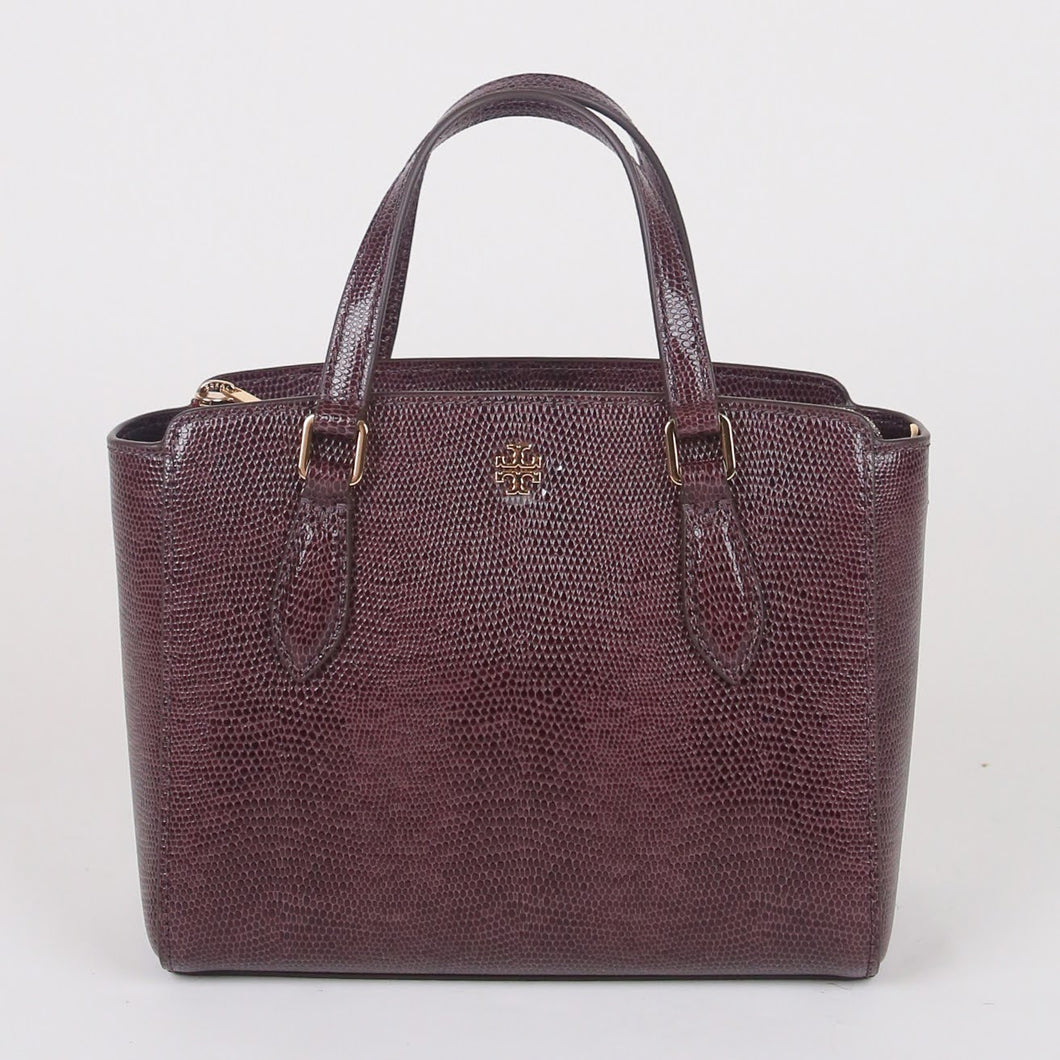 Tory Burch Mini Emerson 78365 Embossed Top Zip Satchel In Imperial Garnet