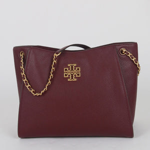 Tory Burch Small Britten 73503 Slouchy Tote Bag In Imperial Garnet